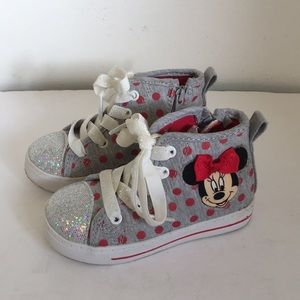 Other - Disney Minnie Mouse shoes grey red silver size 8